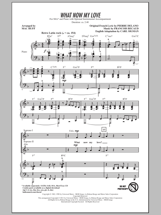 Download Gilbert Becaud What Now My Love (arr. Mac Huff) sheet music and printable PDF score & Concert music notes