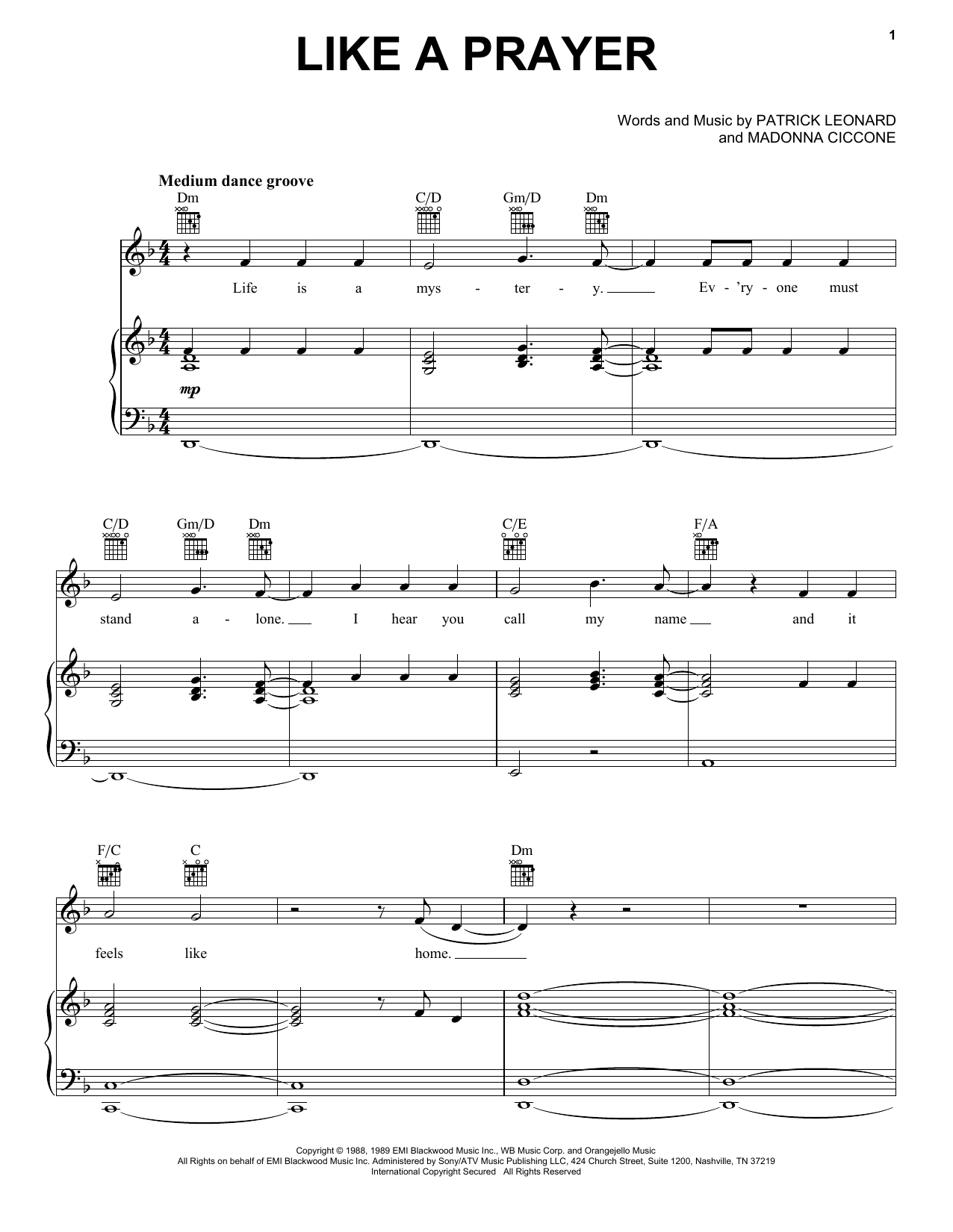 Download Madonna Like A Prayer sheet music and printable PDF score & Pop music notes
