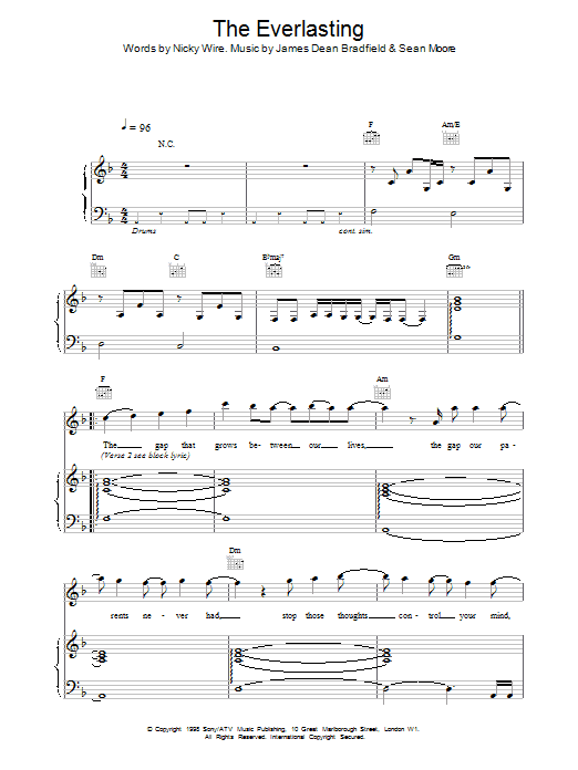 Download Manic Street Preachers Everlasting sheet music and printable PDF score & Pop music notes
