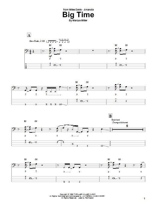 Download Marcus Miller Big Time sheet music and printable PDF score & Jazz music notes