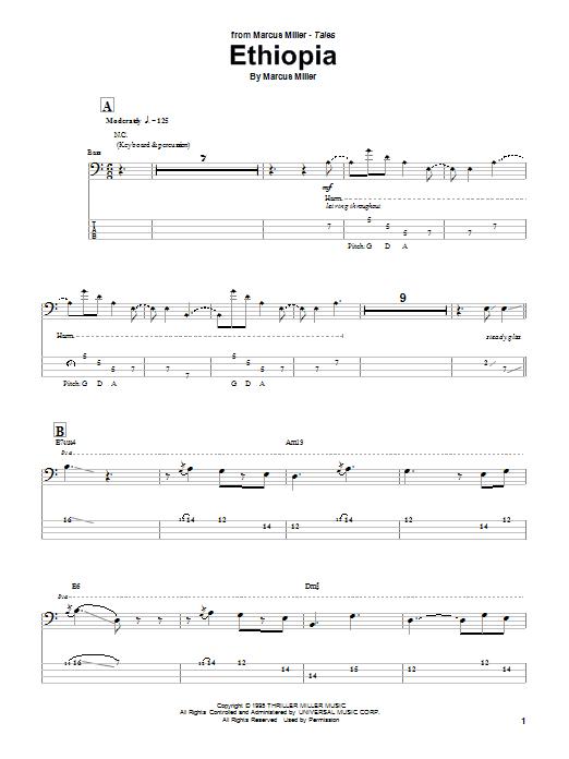 Download Marcus Miller Ethiopia sheet music and printable PDF score & Jazz music notes