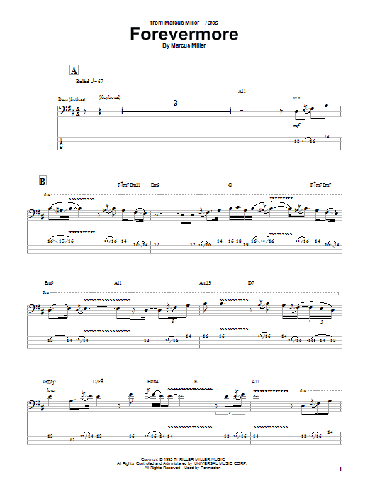Download Marcus Miller Forevermore sheet music and printable PDF score & Jazz music notes