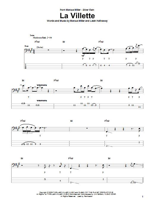 Download Marcus Miller La Villette sheet music and printable PDF score & Jazz music notes