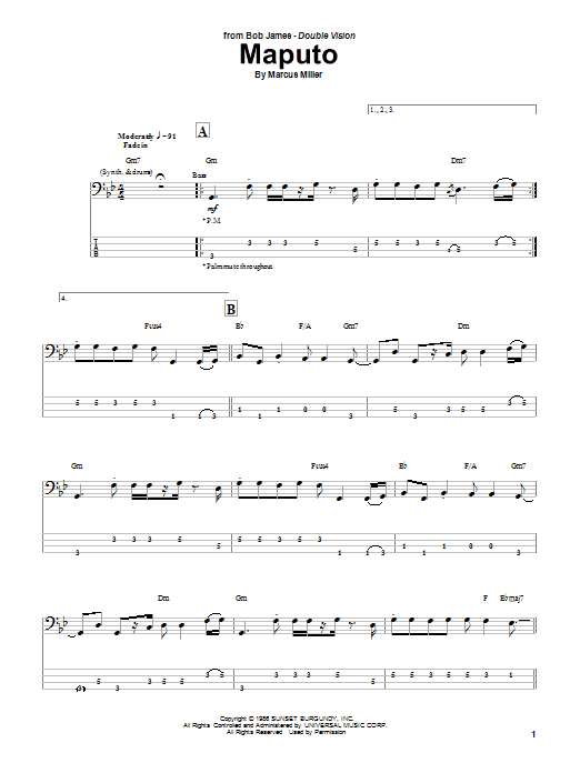 Download Marcus Miller Maputo sheet music and printable PDF score & Jazz music notes