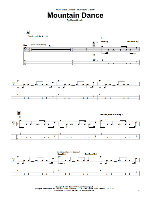 Download Marcus Miller Mountain Dance sheet music and printable PDF score & Jazz music notes