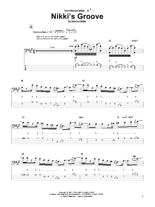 Download Marcus Miller Nikki's Groove sheet music and printable PDF score & Jazz music notes