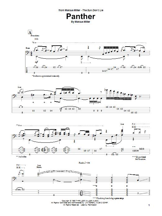 Download Marcus Miller Panther sheet music and printable PDF score & Jazz music notes