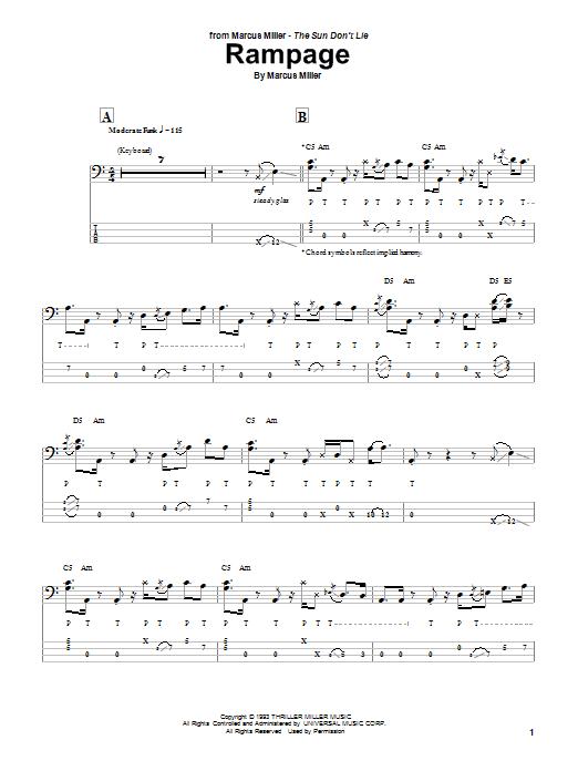 Download Marcus Miller Rampage sheet music and printable PDF score & Jazz music notes