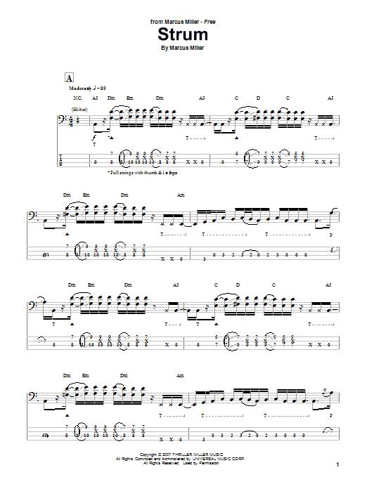 Download Marcus Miller Strum sheet music and printable PDF score & Jazz music notes