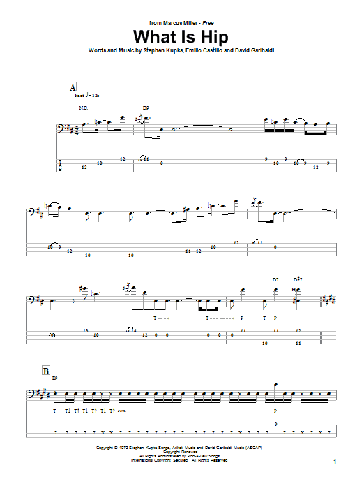 Download Marcus Miller What Is Hip sheet music and printable PDF score & Jazz music notes