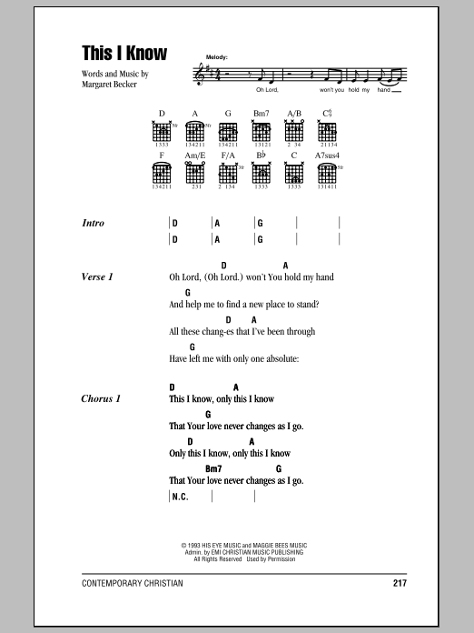 Download Margaret Becker This I Know sheet music and printable PDF score & Pop music notes