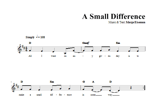 Download Marge Eiseman A Small Difference sheet music and printable PDF score & Religious music notes