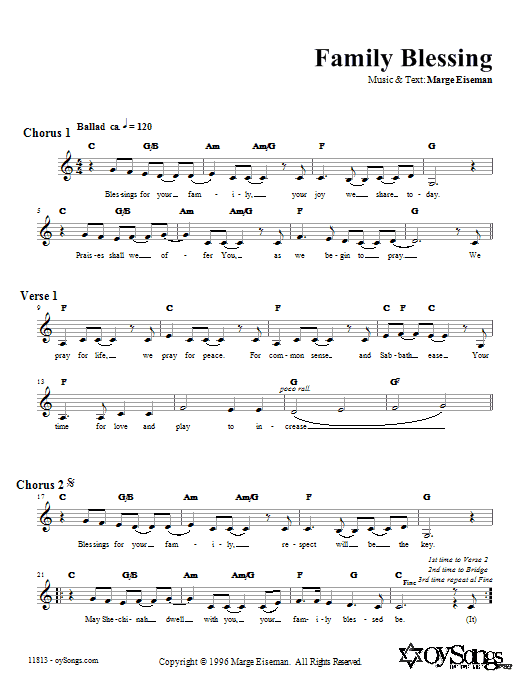 Download Marge Eiseman Family Blessing sheet music and printable PDF score & Religious music notes