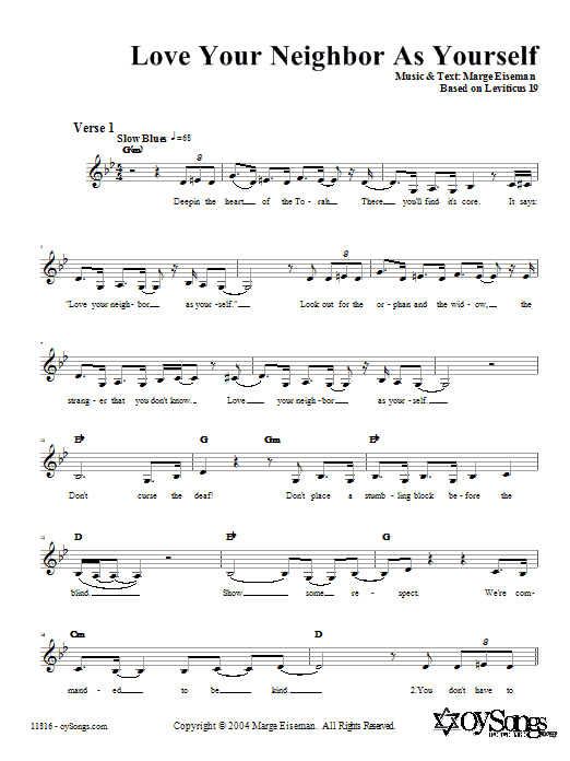 Download Marge Eiseman Love Your Neighbor As Yourself sheet music and printable PDF score & Religious music notes
