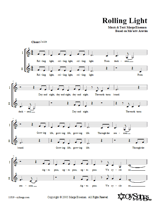 Download Marge Eiseman Rolling Light sheet music and printable PDF score & Religious music notes