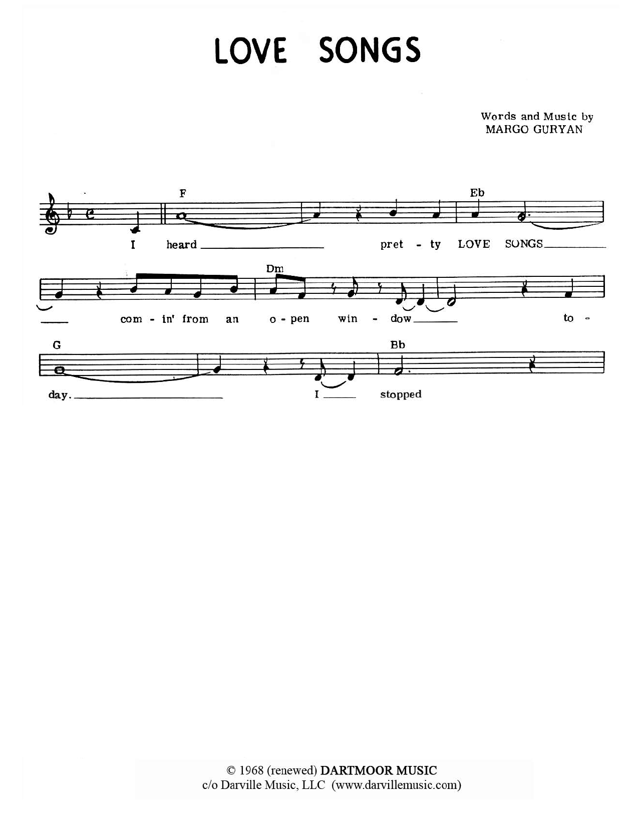 Download Margo Guryan Love Songs sheet music and printable PDF score & Pop music notes
