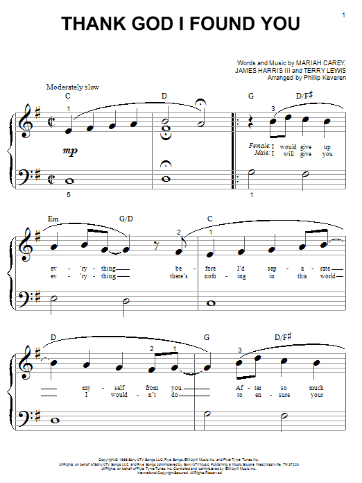 Download Mariah Carey Thank God I Found You (feat. Joe & 98 Degrees) sheet music and printable PDF score & Pop music notes