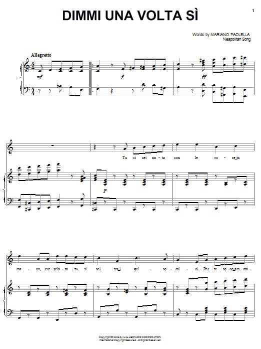 Download Mariano Paolella Dimmi una volta si sheet music and printable PDF score & Classical music notes