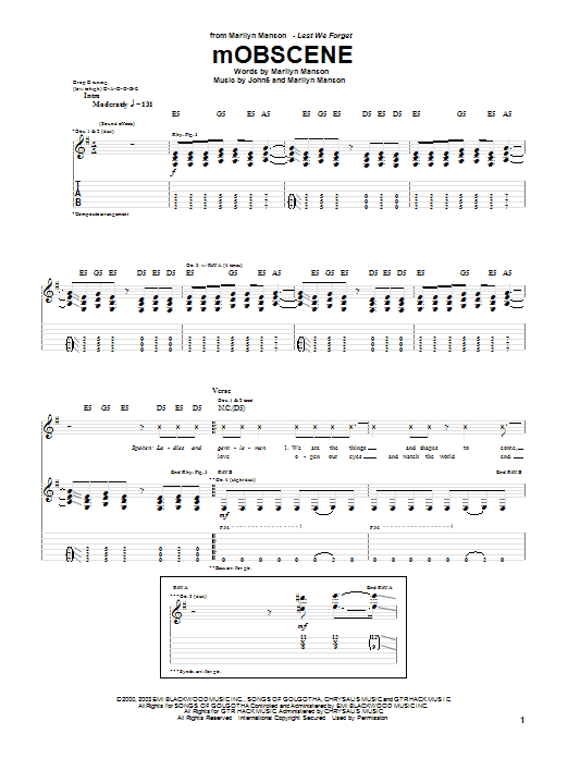 Download Marilyn Manson mOBSCENE sheet music and printable PDF score & Pop music notes