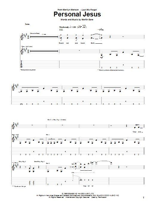 Download Marilyn Manson Personal Jesus sheet music and printable PDF score & Country music notes