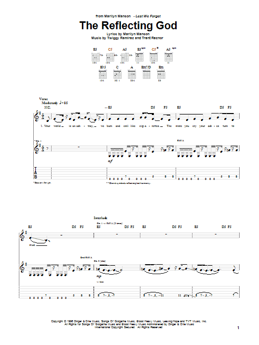 Download Marilyn Manson The Reflecting God sheet music and printable PDF score & Rock music notes