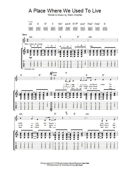 Download Mark Knopfler A Place Where We Used To Live sheet music and printable PDF score & Rock music notes