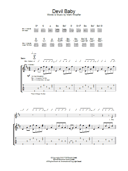 Download Mark Knopfler Devil Baby sheet music and printable PDF score & Rock music notes