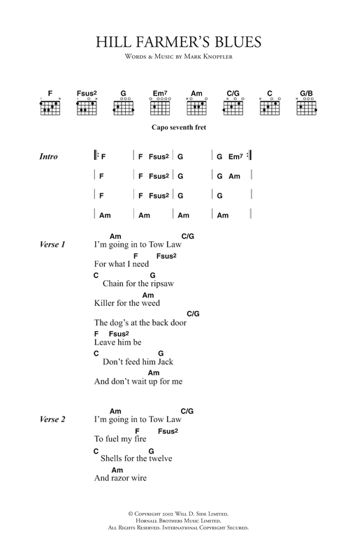 Download Mark Knopfler Hill Farmer's Blues sheet music and printable PDF score & Rock music notes