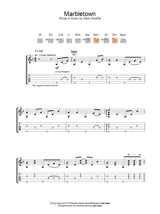 Download Mark Knopfler Marbletown sheet music and printable PDF score & Rock music notes