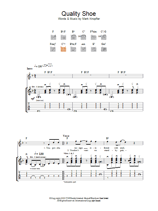 Download Mark Knopfler Quality Shoe sheet music and printable PDF score & Rock music notes