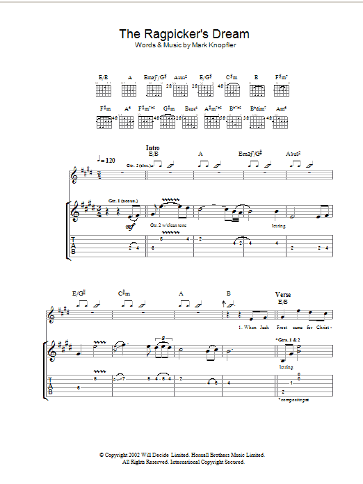 Download Mark Knopfler The Ragpicker's Dream sheet music and printable PDF score & Rock music notes