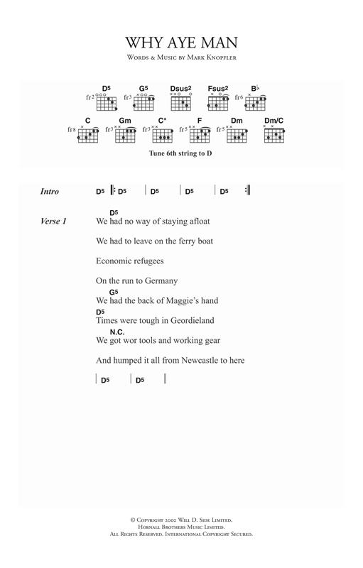 Download Mark Knopfler Why Aye Man sheet music and printable PDF score & Rock music notes