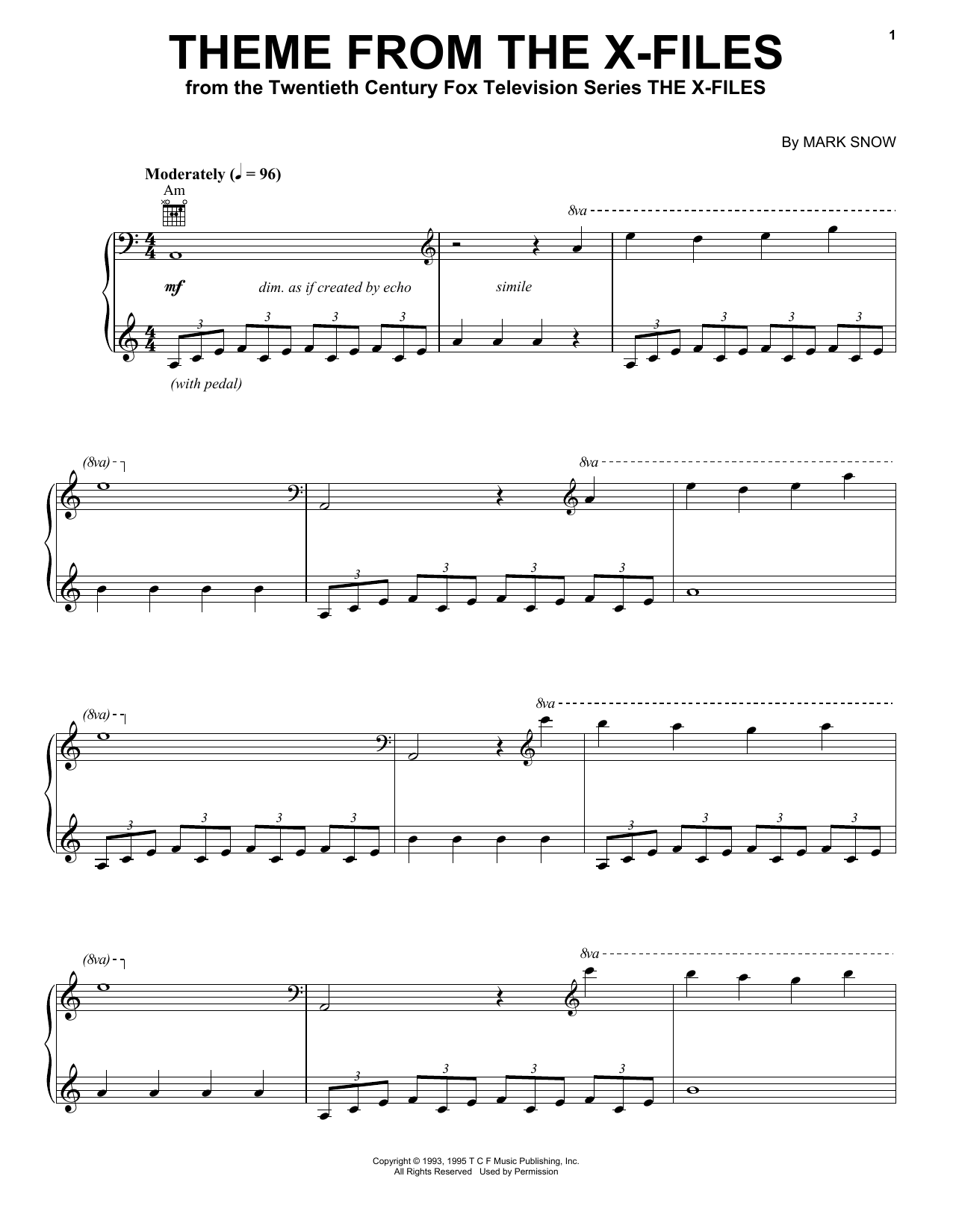 Download Mark Snow Theme From The X-Files sheet music and printable PDF score & Children music notes