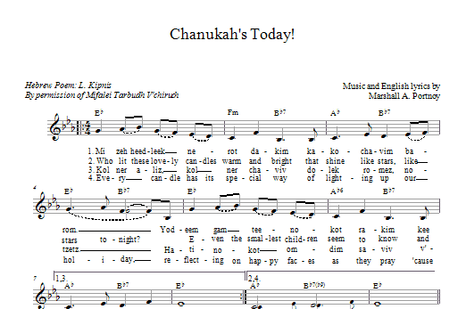 Download Marshall Portnoy Chanukah's Today sheet music and printable PDF score & Religious music notes