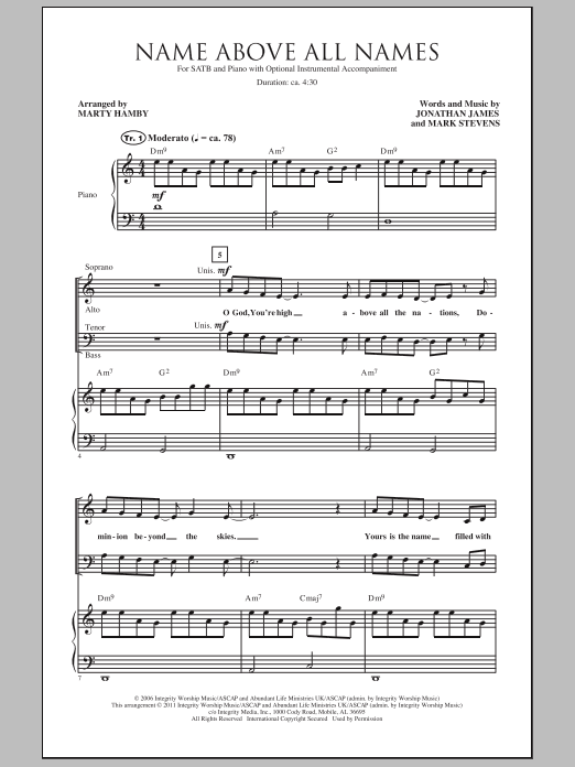 Download Marty Hamby Name Above All Names sheet music and printable PDF score & Sacred music notes