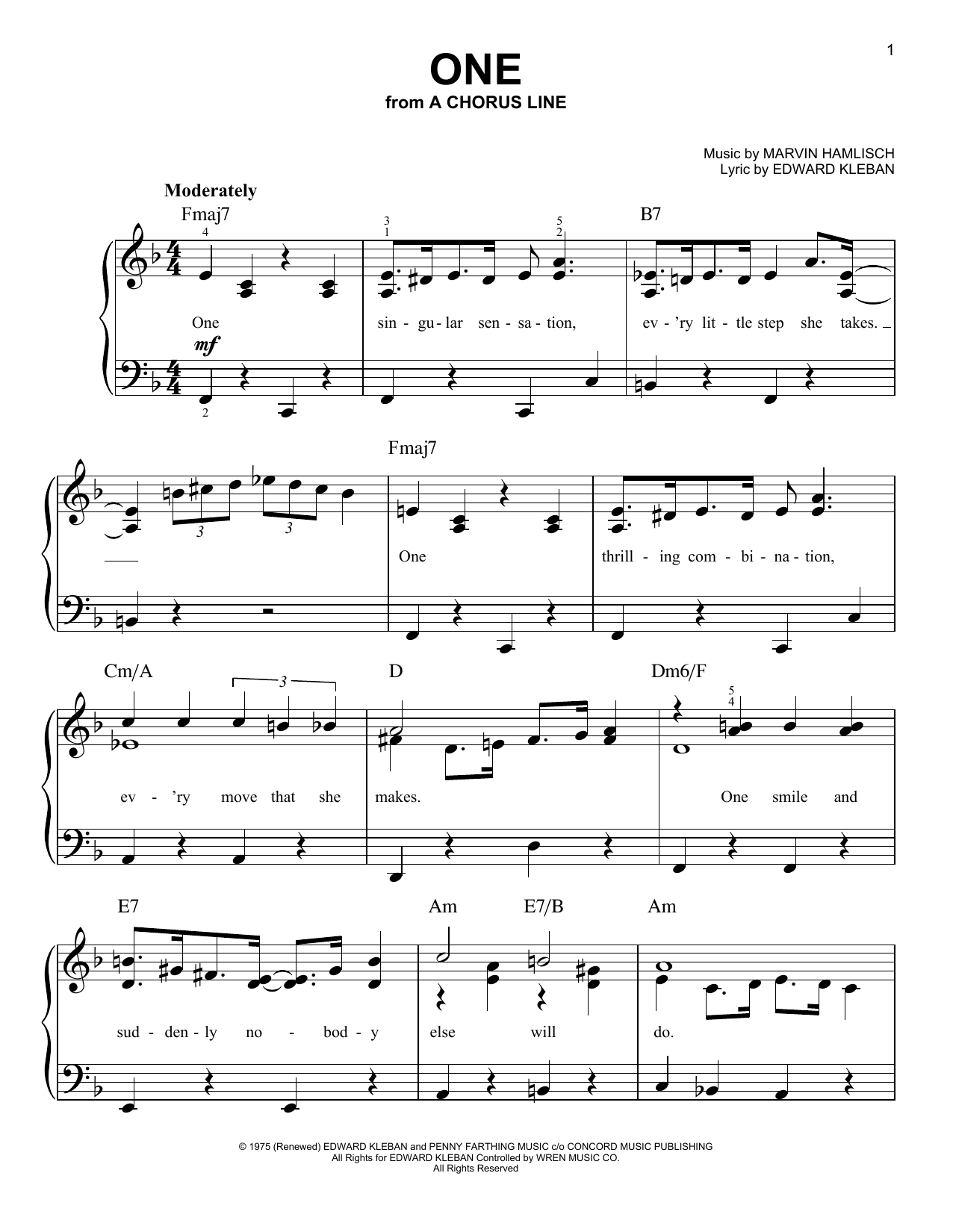 Download Marvin Hamlisch One sheet music and printable PDF score & Broadway music notes