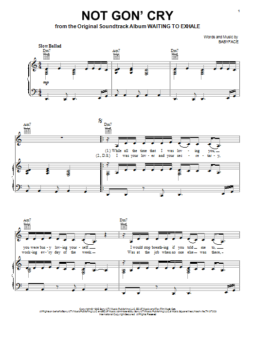Download Mary J. Blige Not Gon' Cry sheet music and printable PDF score & Pop music notes