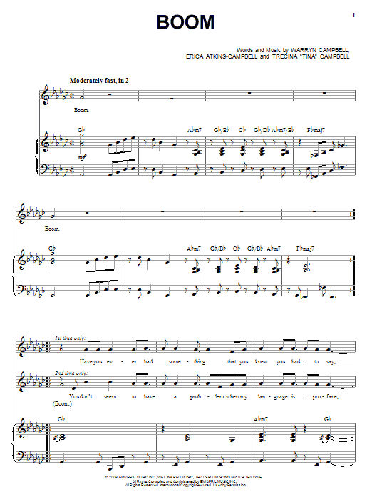 Download Mary Mary Boom sheet music and printable PDF score & Pop music notes