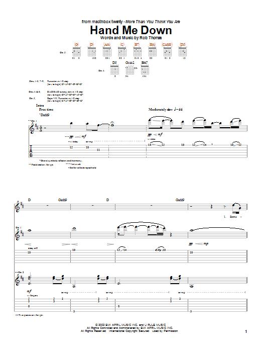 Download Matchbox Twenty Hand Me Down sheet music and printable PDF score & Rock music notes