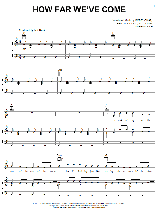 Download Matchbox Twenty How Far We've Come sheet music and printable PDF score & Pop music notes