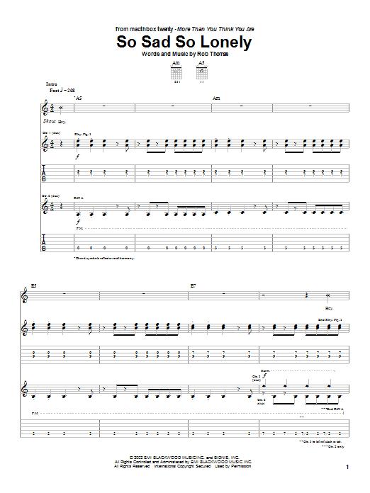 Download Matchbox Twenty So Sad So Lonely sheet music and printable PDF score & Rock music notes