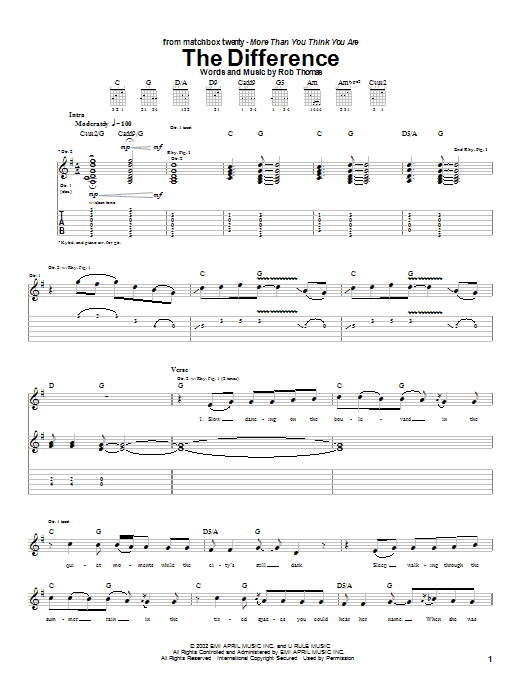 Download Matchbox Twenty The Difference sheet music and printable PDF score & Rock music notes