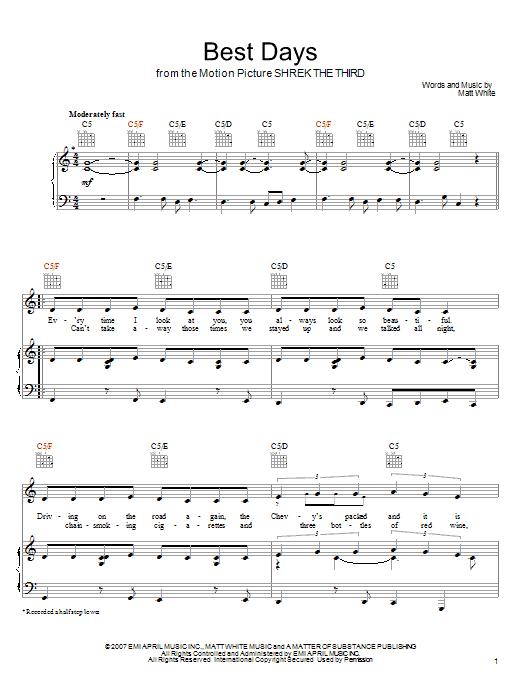Download Matt White Best Days sheet music and printable PDF score & Pop music notes