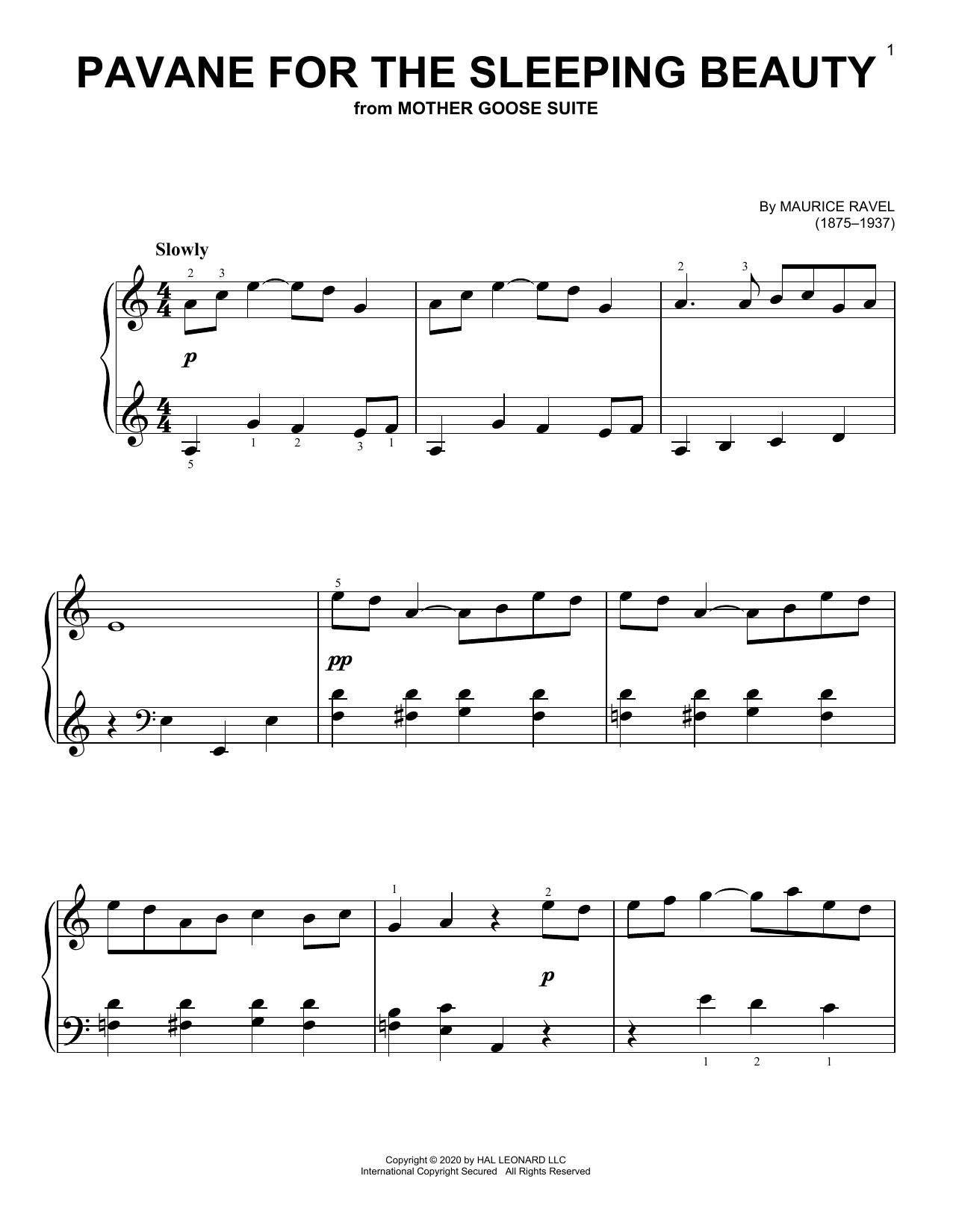 Download Maurice Ravel Pavanne De La Belle Au Bois Dormant sheet music and printable PDF score & Classical music notes