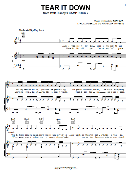 Download Meaghan Martin Tear It Down (from Camp Rock 2) sheet music and printable PDF score & Pop music notes