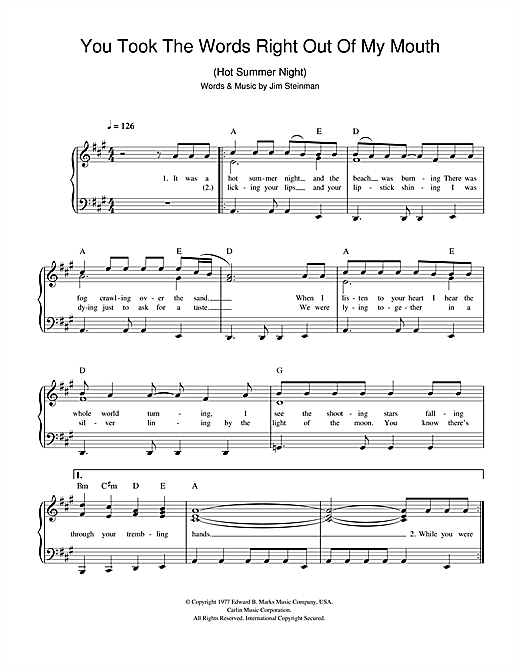 Download Meat Loaf You Took The Words Right Out Of My Mouth (Hot Summer Night) sheet music and printable PDF score & Rock music notes