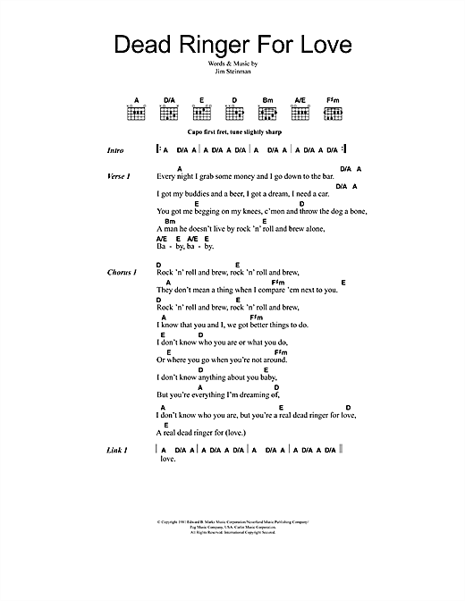 Download Meat Loaf and Cher Dead Ringer For Love sheet music and printable PDF score & Rock music notes