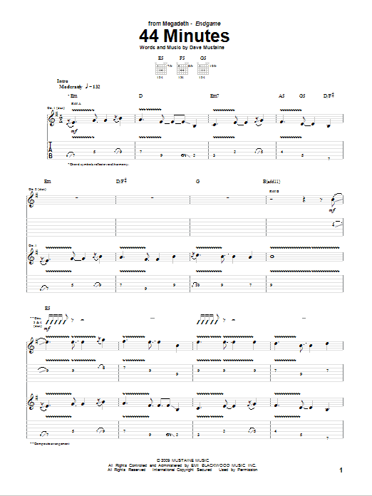 Download Megadeth 44 Minutes sheet music and printable PDF score & Pop music notes