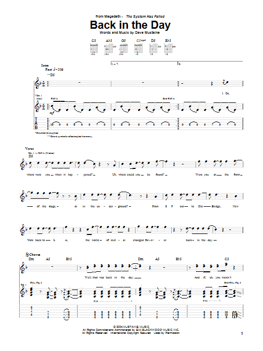 Download Megadeth Back In The Day sheet music and printable PDF score & Rock music notes