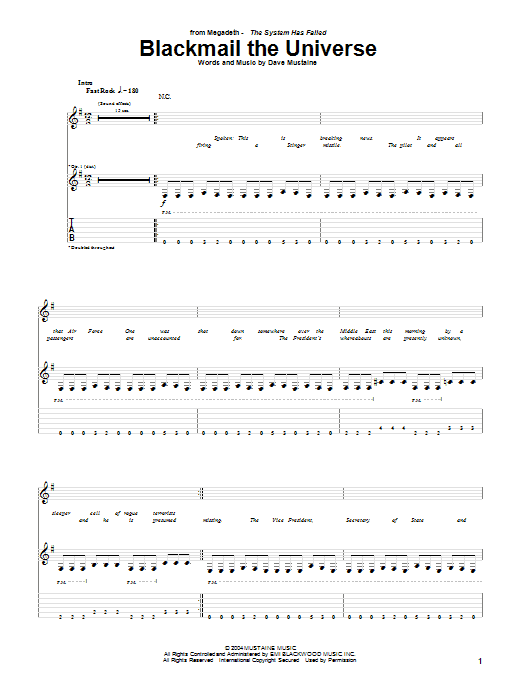 Download Megadeth Blackmail The Universe sheet music and printable PDF score & Rock music notes